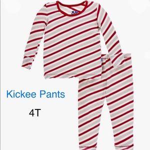 NWT-Girls candycane striped pajama set size 4T